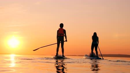 tutmak : Sunset waters with a boy and a mother doing paddlesurfing Stok Video