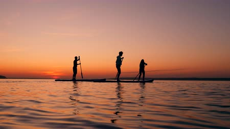 sucção : Stand-up paddleboarding of a group of friends