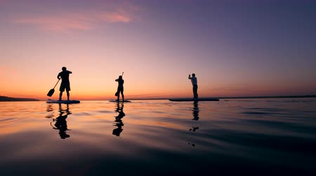 sucção : Stand-up paddlesurfing of a group of young friends Stock Footage