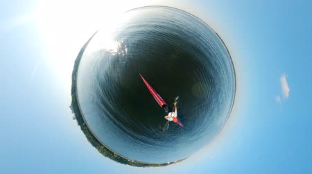 каноэ : Round panorama of a person rowing along the river Стоковые видеозаписи