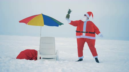 vaha : Cheerful Santa Claus is dancing with a pineapple next to a deck-chair