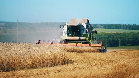 reaping : Front view of the combined machine collecting crops