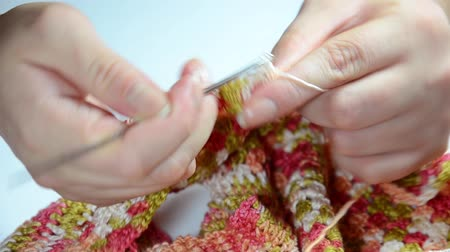 detay : Woman crochet (knitting) Stok Video