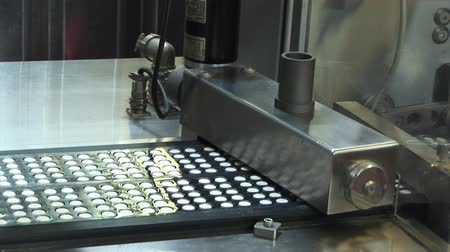 pharmaceuticals : Automated production of medicines. Creating a pill. Tablets on the conveyor