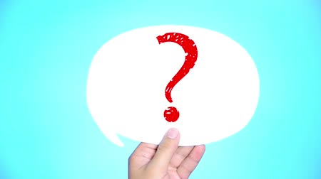 kérdések : man with question mark in speech bubble on blue background