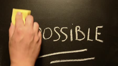 palavras : impossible turns to possible. Changing the word impossible to possible.