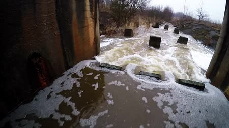culvert : Water stream flowing out the underground tunnel into the river