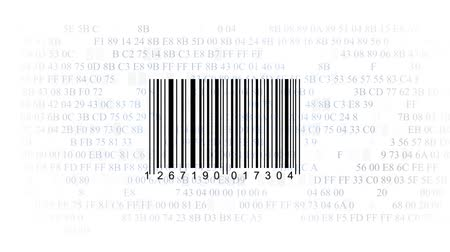 сканирование : barcode scanner by barcode reader on white background. Closeup on array of digits. chaos digits. Animating background hexadecimal code