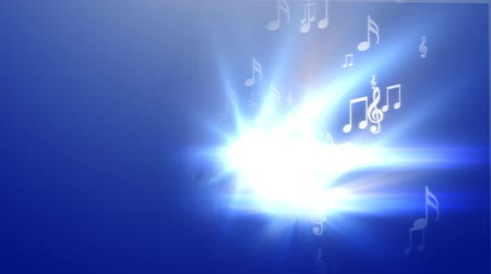 loud music : Abstract music on blue background Stock Footage