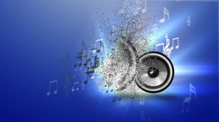 loud music : Abstract music with speakers on blue background