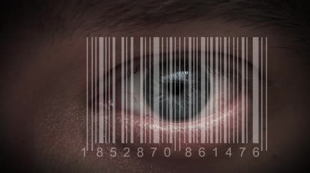 bulva oční : human eye with integrated barcode in it. cyborg