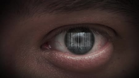 kod kreskowy : human eye with integrated barcode in it. cyborg