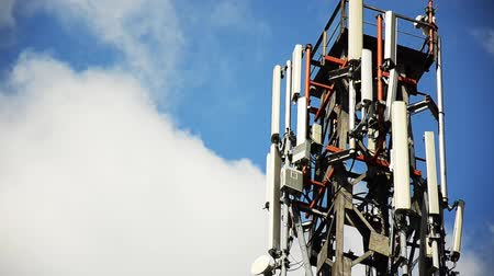 antena : Cellphone telecommunication tower time lapse 1080p Stock Footage