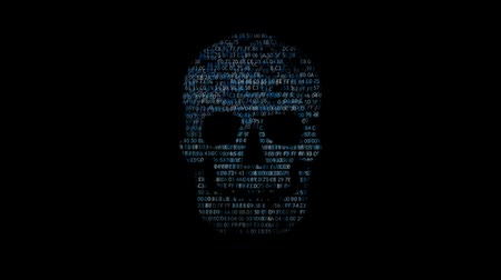 kódolás : Concept of computer security. The skull of the hexadecimal code