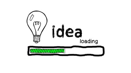 nápad : Loading bar with bulb, creativity, big idea, innovation concept