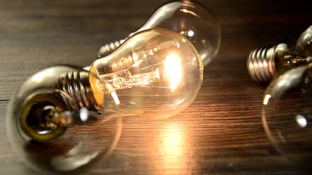 wood : Many bulb and lights up only one. The concept of idea. The flashing bulb light Spoiled