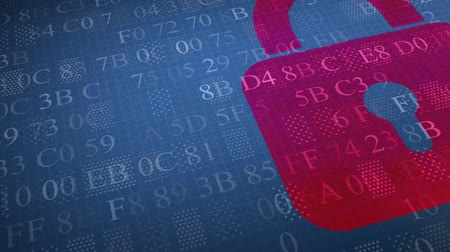 онлайн : Security concept: hex code and the red lock locked. Access denied