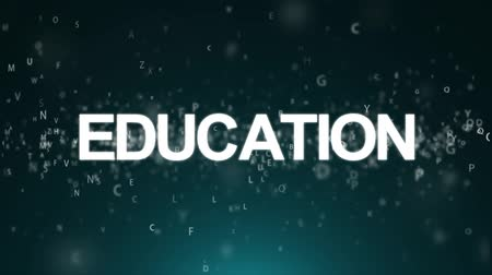 educar : Animated background with letters. Concept education Stock Footage