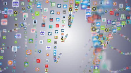 sociální média : Mobile App of many mobile applications swaying on the waves
