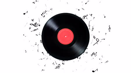 płyta winylowa : Vinyl record with a lot of notes. Vinyl record playing music Wideo