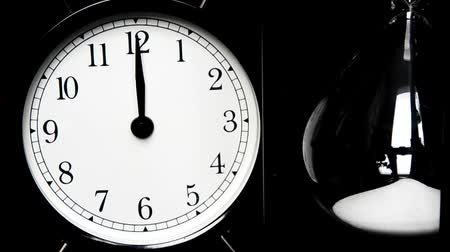 minute hand : Alarm Clock, hourglass. The concept of time, different times