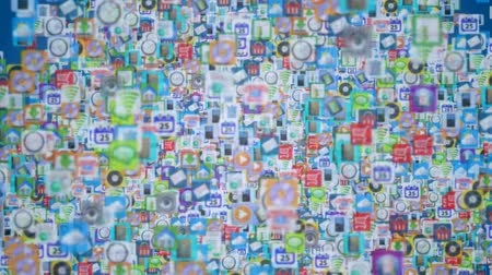 the media : Cloud Storage of social icons. cloud concept Stock Footage