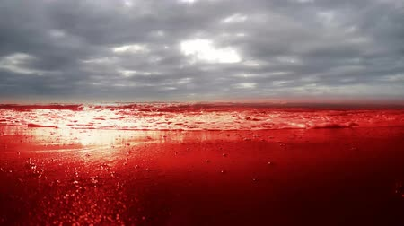 нападение : Bloody sea, ocean, water. Sea of ??Blood and swiftly flying clouds Стоковые видеозаписи