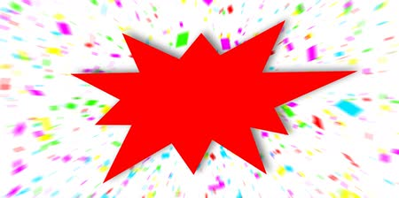 pricetag : Red sign over colorful confetti background. Stock Footage