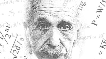 relativity : Background of rapidly changing physical formulas with a portrait of Albert Einstein Stock Footage