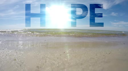 nadzieja : The word Hope on the sea