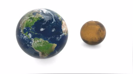 kepler : 3d model of planet Mars and Earth. Earth rotates on a white background