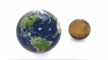 kepler : Mars from behind the earth. 3d model of planet Mars and Earth. Earth rotates on a white background