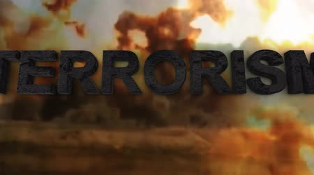 bombardment : The war on terrorism. What is terrorism Stock Footage