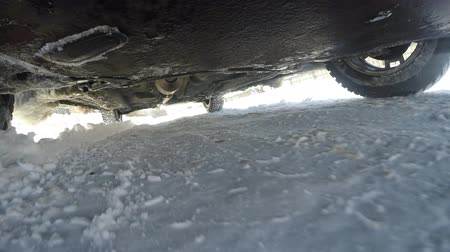 axle : Car suspension work in winter conditions. Movement in bad weather a lot of snow
