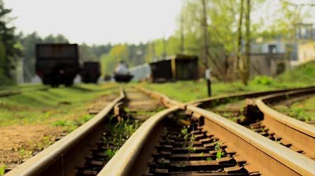 темный фон : Railroad tracks. Depot wagons. Old rails.