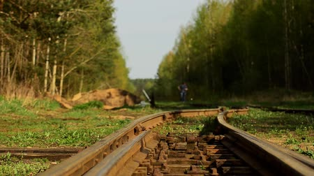 estilizado : A girl is walking along the railway tracks