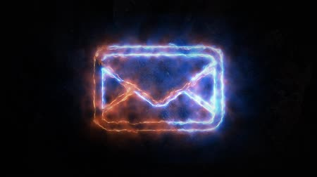 aperto cartello : Electric discharges on the e-mail icon. Email light up. The sign has no basis.