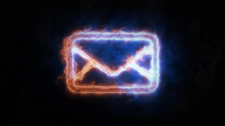 hírlevél : Electric discharges on the e-mail icon. Email light up. The sign has no basis.