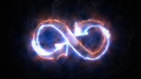 hieróglifo : The symbol of infinity glows in the plasma. Stock Footage