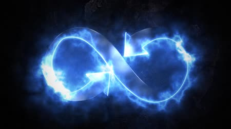 hieróglifo : The symbol of infinity glows blue on fire