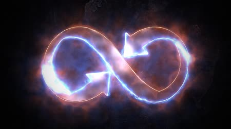 hieróglifo : The symbol of infinity glows in the fire. Infinity