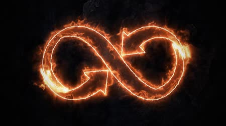 infinito : The symbol of infinity glows in the fire. Infinity