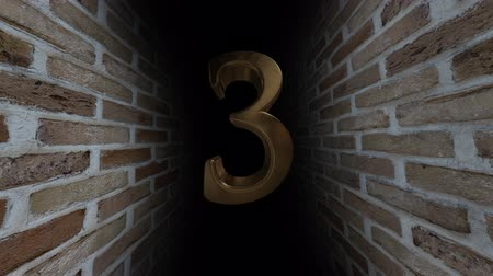 soon : Countdown to the event. The numbers are in order of turn. Mysterious account. Number 3 Stock Footage