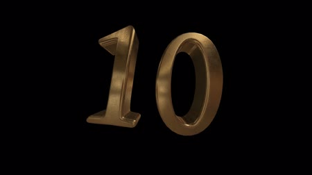 aritmética : Countdown from 0 to 10. Digit 10. Gold digit 10 with alpha channel. Vídeos