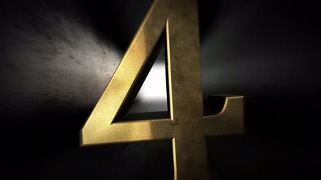 initial : Countdown from 0 to 10. Digit 4. Gold digit 4 with alpha channel. Stock Footage