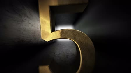 aritmética : Countdown from 0 to 10. Digit 5. Gold digit 5 with alpha channel.