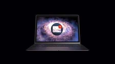 A laptop with lots of emails. Infinite number of letters Stok Video