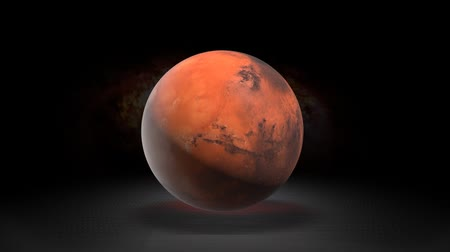 ansiklopedi : Description of the planet Mars astronomy. Mars in the background of the galaxy. Stok Video
