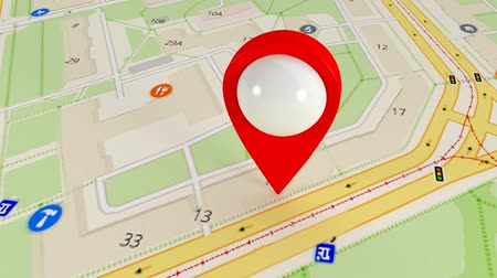 ориентация : Destination on the map. Search by satellite gps. Many gps signals Стоковые видеозаписи