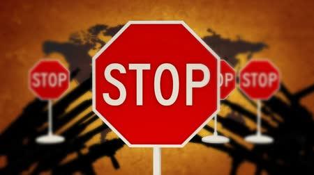 caution sign : Stop conflicts all over the planet. STOP war Stock Footage